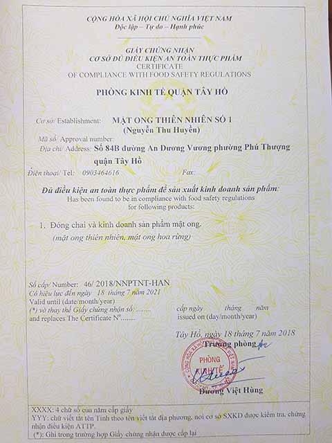 giấy phép an toàn thực phẩm