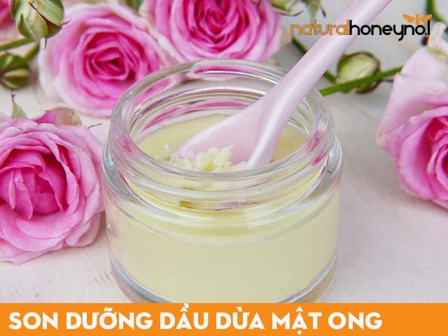 sử dụng dầu dừa để làm nguyên liệu trong công thức son dưỡng từ mật ong và dầu dừa