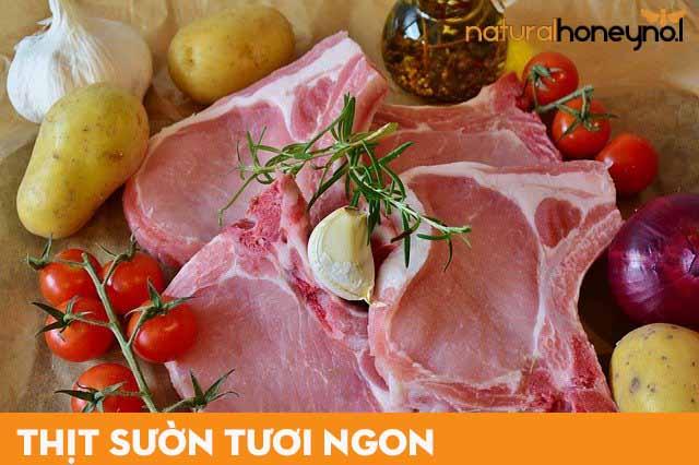 thịt sườn tươi ngon dùng để làm nguyên liệu nấu