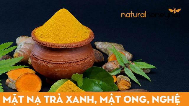 Sử dụng tinh bột nghệ nguyên chất để kết hợp cùng trà xanh và mật ong nguyên chất để làm mặt nạ