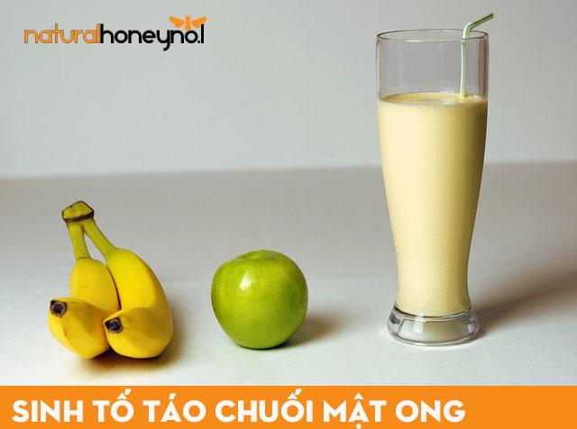 sinh tố táo chuối mix cùng mật ong thơm ngon