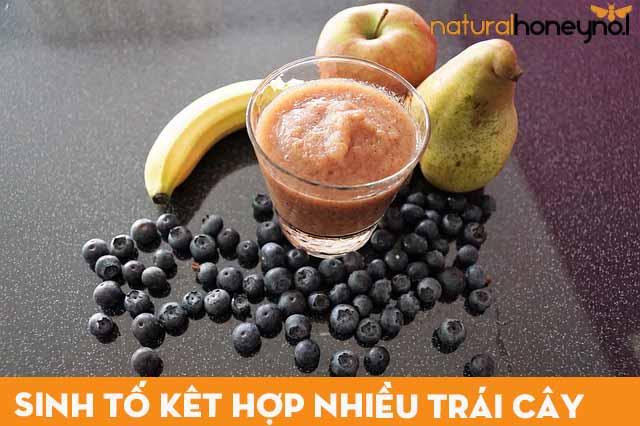 ly sinh tố kết hợp nhiều loại trái cây bổ dưỡng